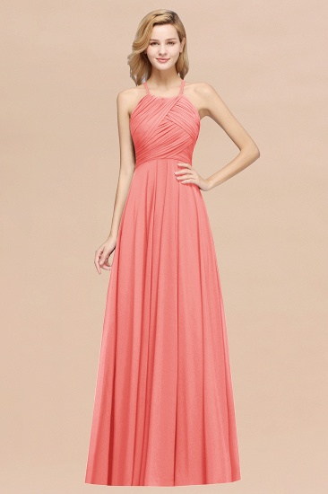 Halter Crisscross Pleated Bridesmaid Dress Blue Chiffon Sleeveless Maid of Honor Dress_7