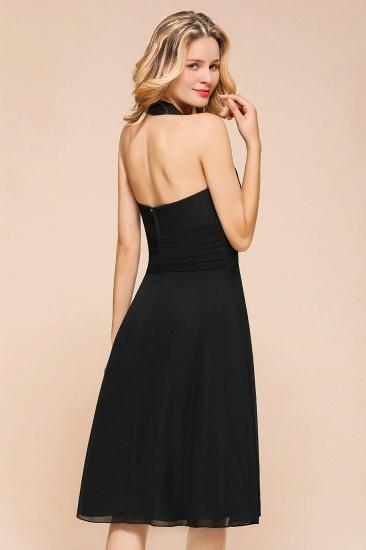 BMbridal Affordable Halter V-Neck Black Short Bridesmaid Dresses Online_10