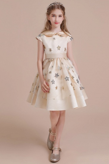 BMbridal A-Line Cap Sleeve Star Sequins Tulle Flower Girl Dress Online_4