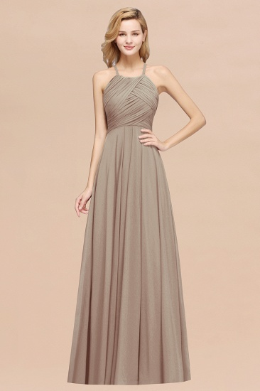 BMbridal Halter Crisscross Pleated Bridesmaid Dress Blue Chiffon Sleeveless Maid of Honor Dress_16