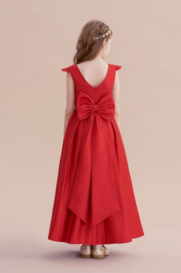 BMbridal A-Line Satin Bow Ankle Length Flower Girl Dress On Sale_3