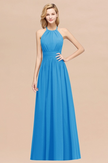 Elegant High-Neck Halter Long Affordable Bridesmaid Dresses with Ruffles_25