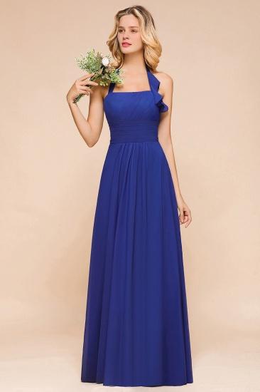 BMbridal Stylish Halter Backless Royal Blue Bridesmaid Dress Affordable with Ruffle_4