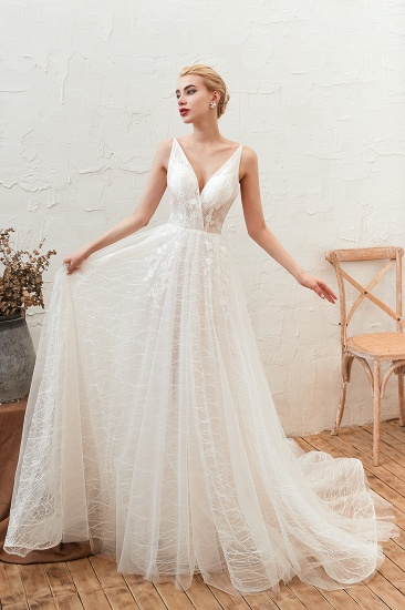 Affordable Tulle V-Neck Long Wedding Dress Online with Appliques_1