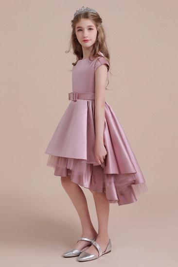 BMbridal A-Line Cap Sleeve Satin High-low Flower Girl Dress Online_7