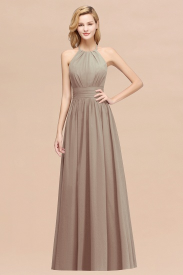 Elegant High-Neck Halter Long Affordable Bridesmaid Dresses with Ruffles_16