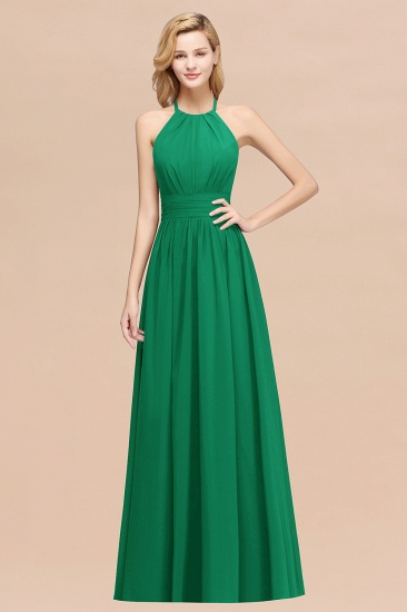 Elegant High-Neck Halter Long Affordable Bridesmaid Dresses with Ruffles_49