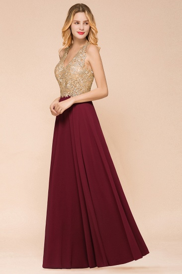 BMbridal Gorgeous V-Neck Burgundy Prom Dress Long Sleeveless Evening Gowns With Appliques_13