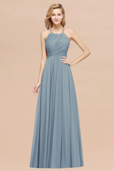 BMbridal Halter Crisscross Pleated Bridesmaid Dress Blue Chiffon Sleeveless Maid of Honor Dress_40