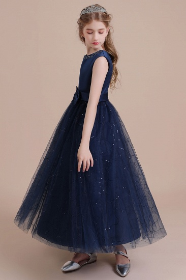BMbridal A-Line Chic Bow Tulle Flower Girl Dress Online_5