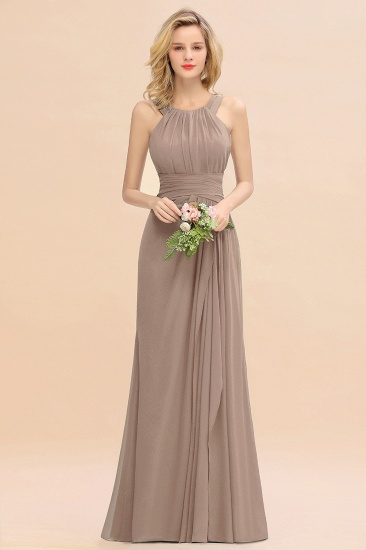 Elegant Round Neck Sleeveless Stormy Bridesmaid Dress with Ruffles_16