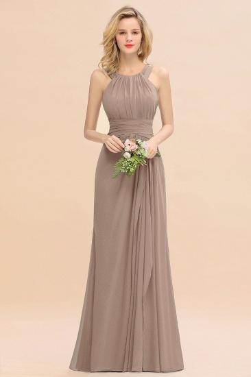 BMbridal Elegant Round Neck Sleeveless Stormy Bridesmaid Dress with Ruffles_16