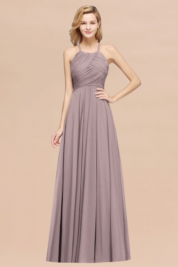 BMbridal Halter Crisscross Pleated Bridesmaid Dress Blue Chiffon Sleeveless Maid of Honor Dress_37