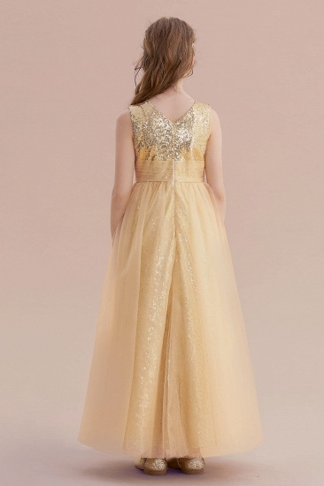 BMbridal A-Line Awesome Sequins Tulle Flower Girl Dress Online_3