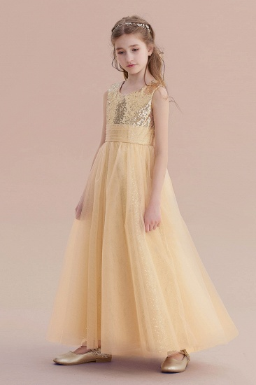 BMbridal A-Line Awesome Sequins Tulle Flower Girl Dress Online_5