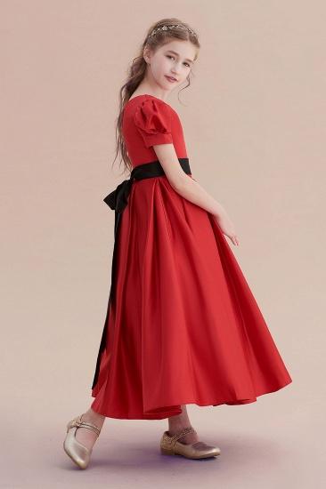 BMbridal A-Line Awesome Short Sleeve Satin Flower Girl Dress Online_6