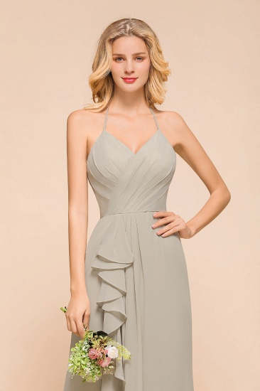 BMbridal Affordable Halter V-Neck Ruffle Silver Chiffon Bridesmaid Dress Online_7