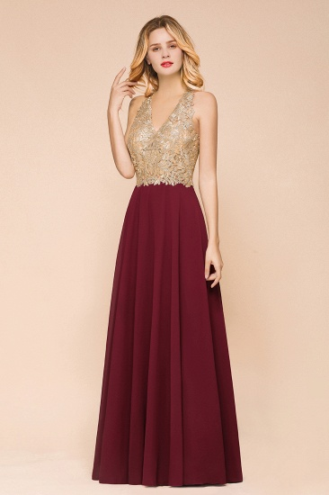 BMbridal Gorgeous V-Neck Burgundy Prom Dress Long Sleeveless Evening Gowns With Appliques_10
