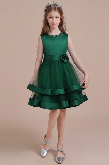 BMbridal A-Line Bow Satin Layered Tulle Flower Girl Dress Online_4