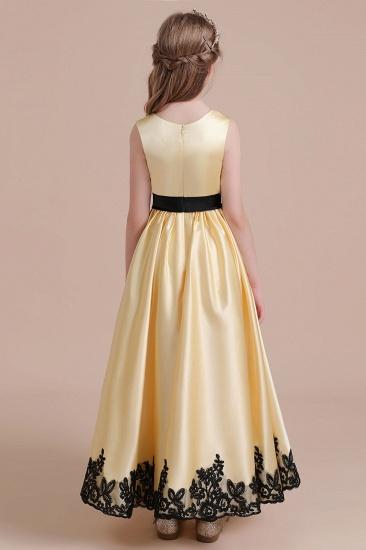 BMbridal A-Line Chic Bow Appliques Satin Flower Girl Dress Online_8