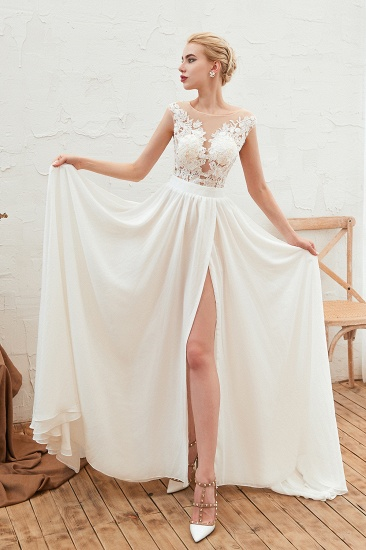 Sexy Jewel Appliques Long Ivory Affordable Wedding Dress with Front Slit_4