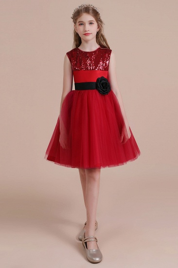 BMbridal A-Line Graceful Sequins Tulle Flower Girl Dress Online_5
