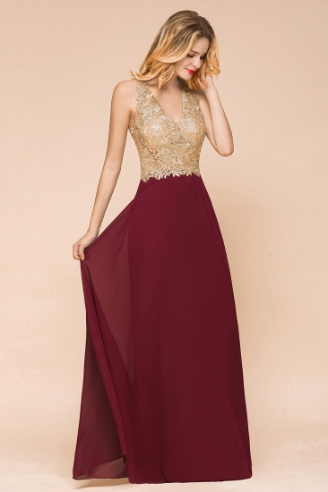 BMbridal Gorgeous V-Neck Burgundy Prom Dress Long Sleeveless Evening Gowns With Appliques_9