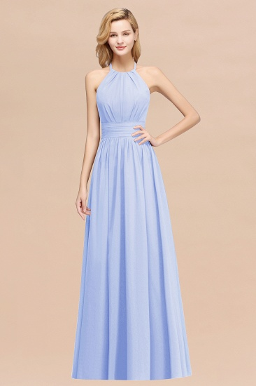 Elegant High-Neck Halter Long Affordable Bridesmaid Dresses with Ruffles_22