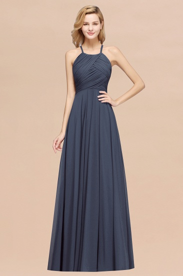 BMbridal Halter Crisscross Pleated Bridesmaid Dress Blue Chiffon Sleeveless Maid of Honor Dress_39