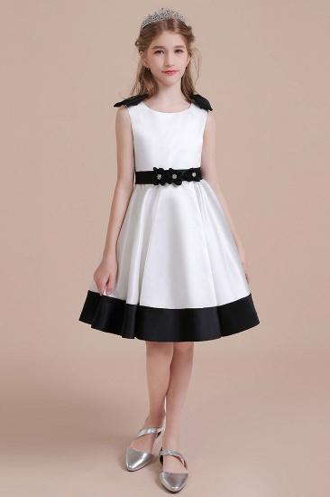 BMbridal A-Line Latest Satin Knee Length Flower Girl Dress Online_1