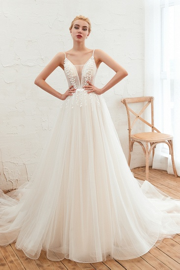 Chic Spaghetti Straps V-Neck Ivory Tulle Wedding Dresses with Appliques_1