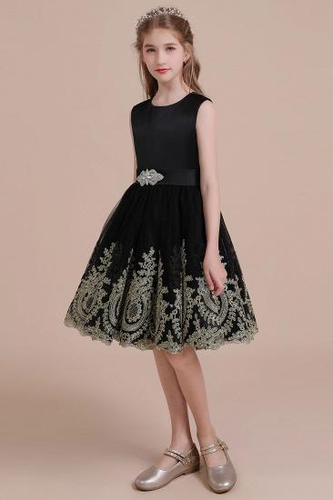 BMbridal A-Line Appliques Satin Tulle Flower Girl Dress Online_4