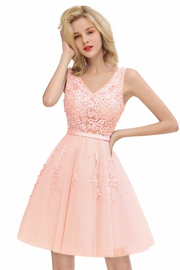 BMbridal Elegant V-Neck Sleeveless Short Prom Dress Mini Homecoming Dress With Lace Appliques_13