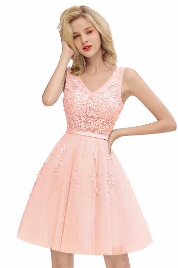 BMbridal Elegant V-Neck Sleeveless Short Prom Dress Mini Homecoming Dress With Lace Appliques_1