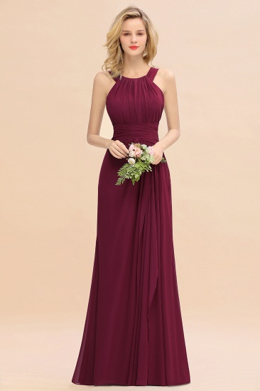Elegant Round Neck Sleeveless Stormy Bridesmaid Dress with Ruffles_44