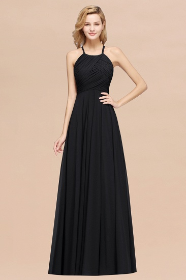Halter Crisscross Pleated Bridesmaid Dress Blue Chiffon Sleeveless Maid of Honor Dress_29