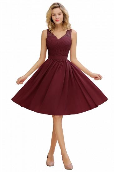 BMbridal A-line Chiffon Ruffle Bridesmaid Dress Sleeveless Lace Homecoming Dress_2