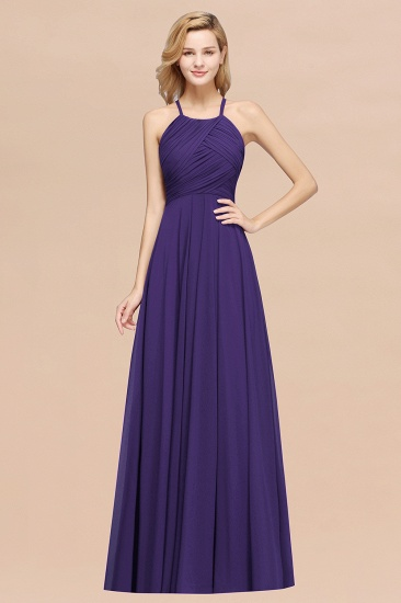 Halter Crisscross Pleated Bridesmaid Dress Blue Chiffon Sleeveless Maid of Honor Dress_19