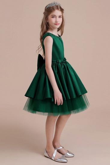 BMbridal A-Line Bow Beading Satin Tulle Flower Girl Dress On Sale_5