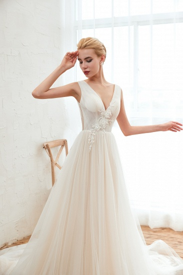 BMbridal Affordable Tulle V-Neck Ruffle Long Wedding Dress with Appliques_7