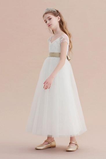 BMbridal A-Line Cap Sleeve Sweetheart Tulle Flower Girl Dress Online_4