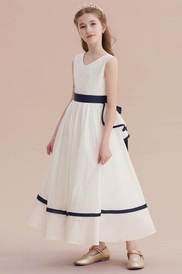 BMbridal A-Line Chic V-neck Lace Ankle Length Flower Girl Dress Online_4