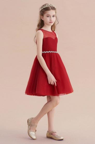 BMbridal A-Line Illusion Tulle Knee Length Flower Girl Dress Online_7