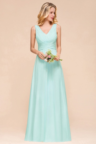 Chic V-Neck Sleeveless Mint Green Bridesmaid Dresses with Ruffle_4
