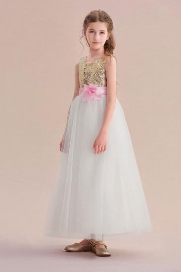 BMbridal A-Line Sequins Tulle High-waisted Flower Girl Dress On Sale_6