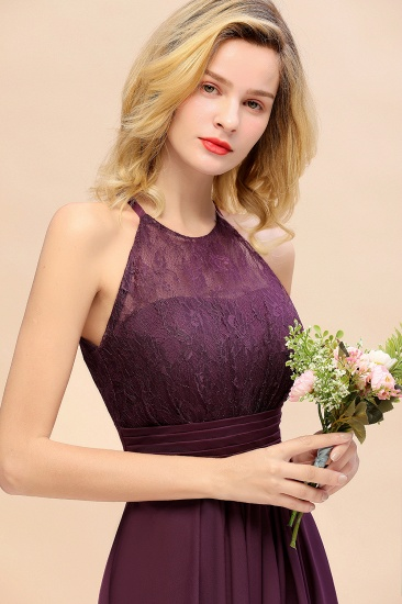 Elegant Halter Ruffles Sleeveless Grape Lace Bridesmaid Dresses Cheap_58