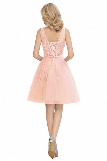 BMbridal Elegant V-Neck Sleeveless Short Prom Dress Mini Homecoming Dress With Lace Appliques_22