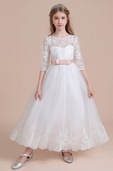 BMbridal A-Line Illusion Lace Tulle Ankle Length Flower Girl Dress On Sale_7