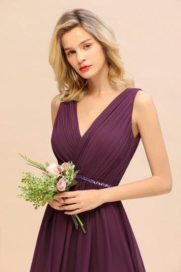 Chic Hi-Lo V Neck Ruffle Bridesmaid Dress with Beading Sash_6