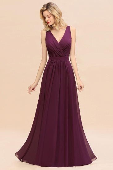 BMbridal Affordable V-Neck Ruffle Long Grape Chiffon Bridesmaid Dress with Bow_6